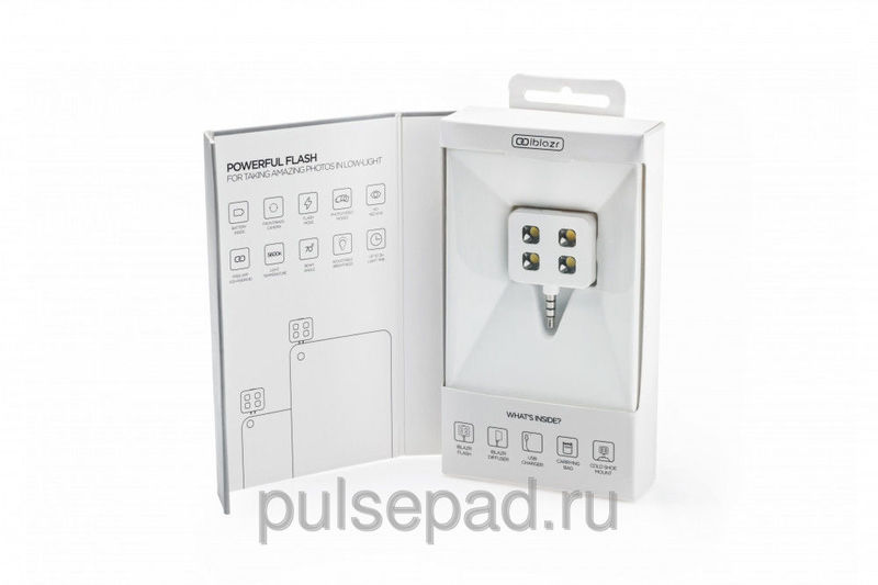 LED-вспышка iBlazr для iPhone/iPod/iPad mini/iPad/Smartphones/Tablets белая