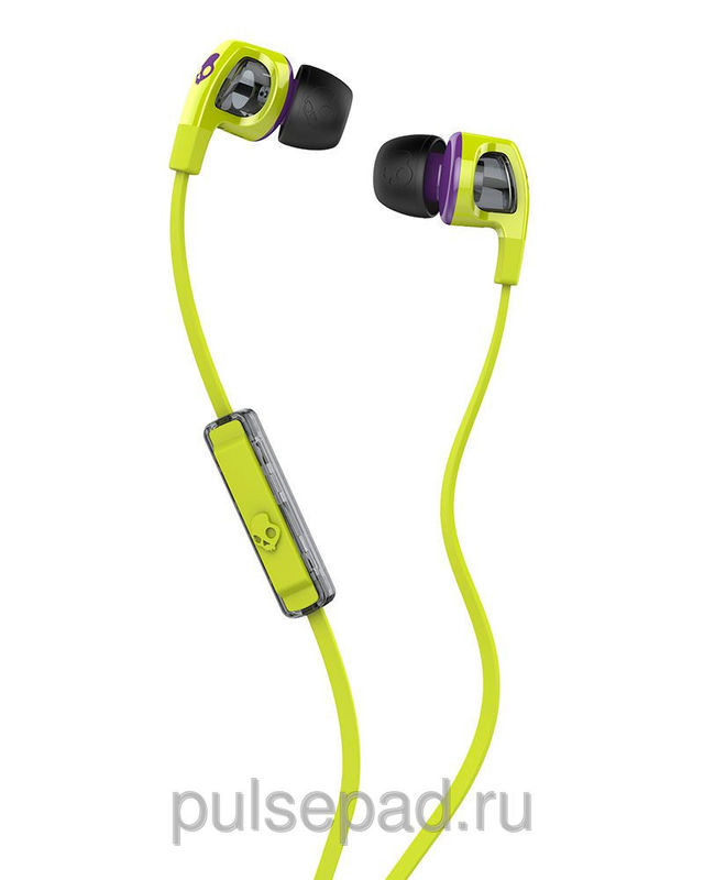НАУШНИКИ SKULLCANDY SMOKIN BUD 2.0 HOT LIME/PURPLE MIC1