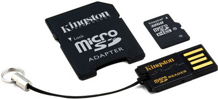 Карта памяти Kingston microSDHC 32 GB Class 10 (+ SD adapter + USB reader)