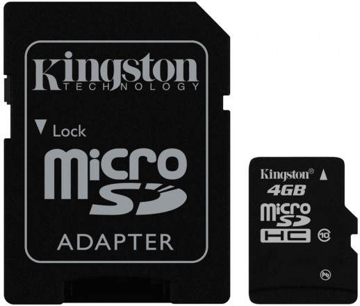 Карта памяти Kingston microSDHC 4 GB Class 10 (+ SD адаптер)