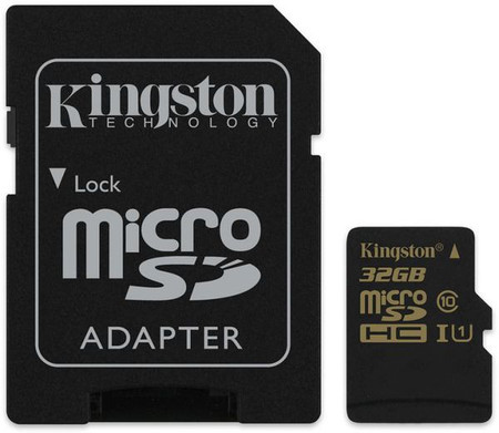 Карта памяти Kingston microSDHC 32 GB Class 10 UHS-I (+ SD адаптер)