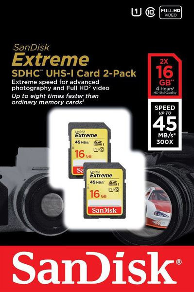 Карта памяти Sandisk SDHC 16GB Extreme Twin pack Class 10 UHS 45MB/s