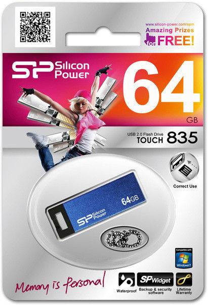 Flash Drive Silicon Power Touch 835 64 GB Blue