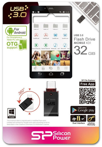 Flash Drive Silicon Power Mobile X31 32 GB USB 3.0, OTG, Black