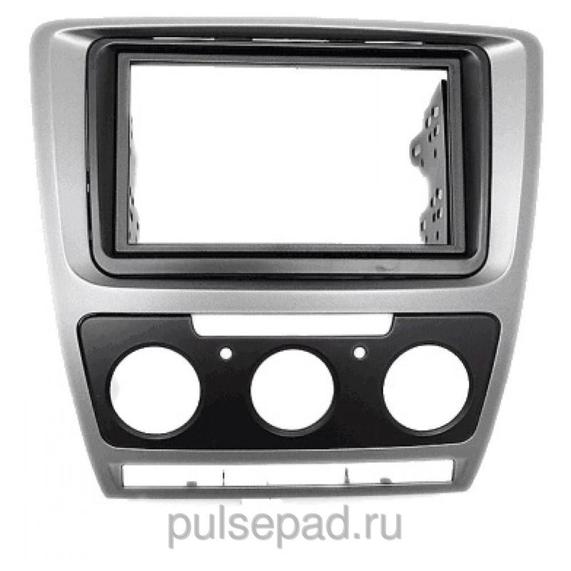 Рамка переходная 11-185 Carav Skoda Oktavia 08-13 (Manual Auto Air-Cond) Grey