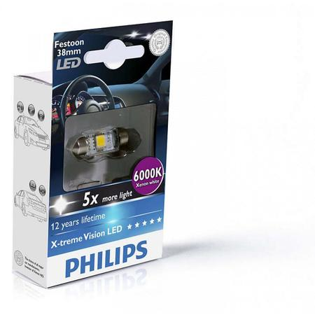 Лампа светодиодная Philips Festoon BlueVision LED T10.5x38, 6000K, 1шт/блистер 128596000KX1